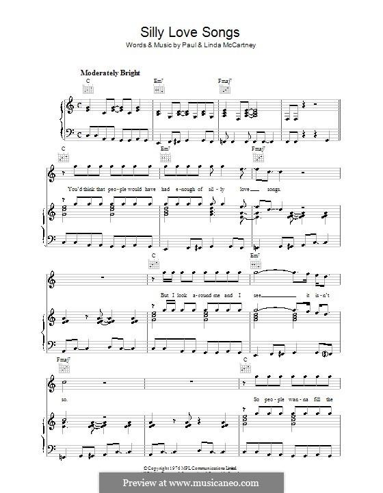 Silly Love Songs (Wings): Для голоса и фортепиано (или гитары) by Linda McCartney, Paul McCartney