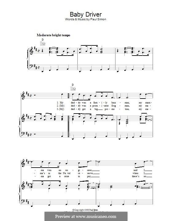 Baby Driver (Simon & Garfunkel): Для голоса и фортепиано (или гитары) by Paul Simon