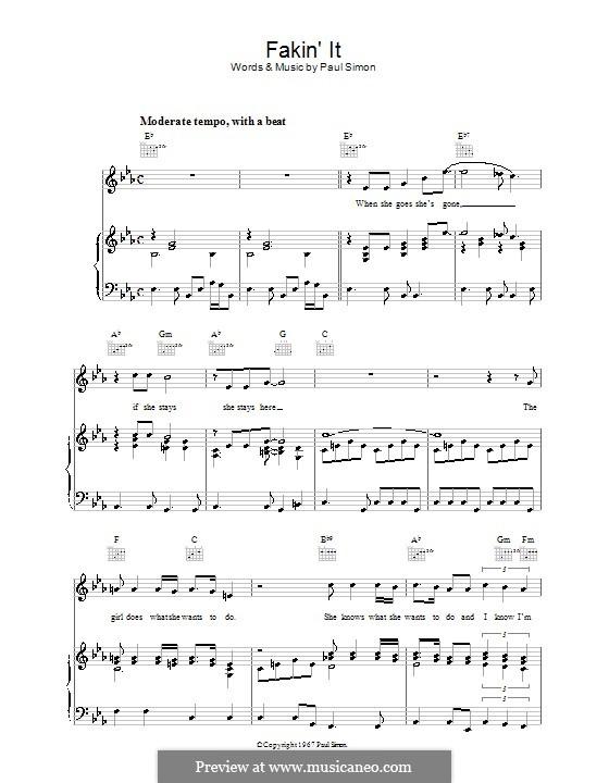 Fakin' It (Simon & Garfunkel): Для голоса и фортепиано (или гитары) by Paul Simon