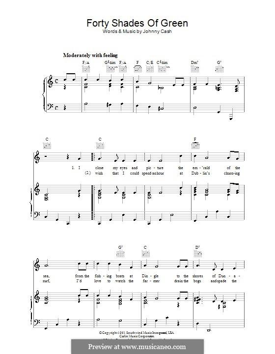 Forty Shades of Green: Для голоса и фортепиано (или гитары) by Johnny Cash