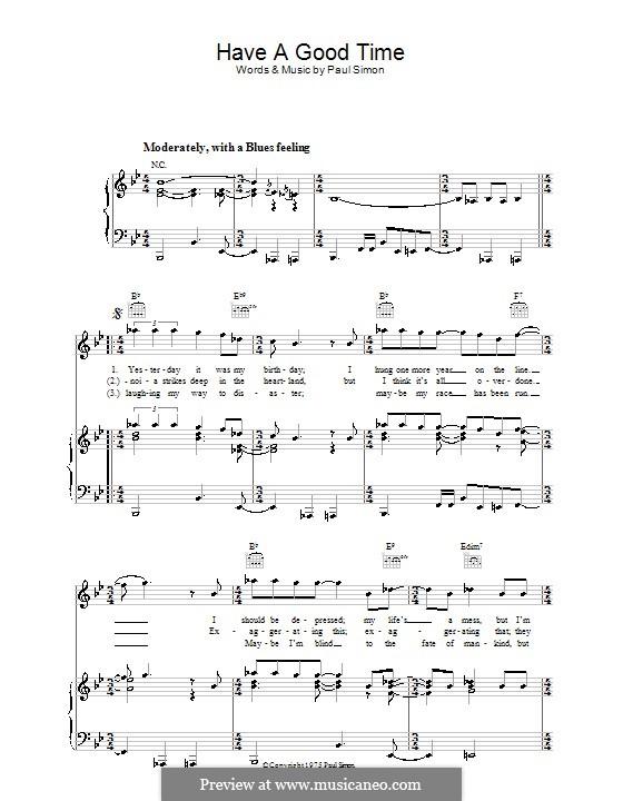 Have a Good Time: Для голоса и фортепиано (или гитары) by Paul Simon