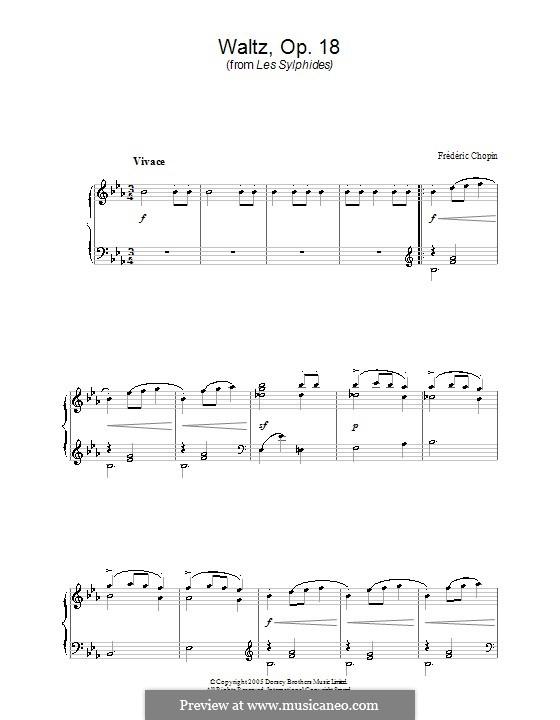 Большой блестящий вальс ми-бемоль мажор, Op.18: Тема by Фредерик Шопен