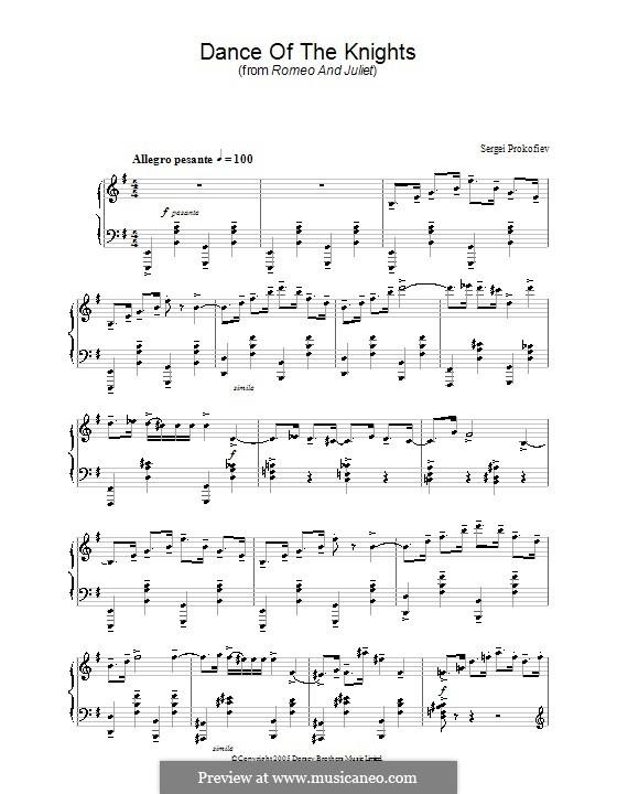 Ромео и Джульетта, Op.64: Танец рыцарей. Переложение для фортепиано by Сергей Прокофьев