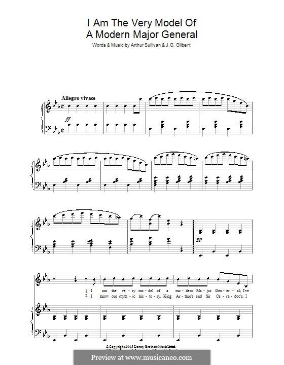 Act I, No.13 I am the Very Model of a Modern: Для голоса и фортепиано by Артур Салливан