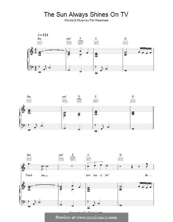 The Sun Always Shines on TV (A-Ha): Для голоса и фортепиано (или гитары) by Pal Waaktaar