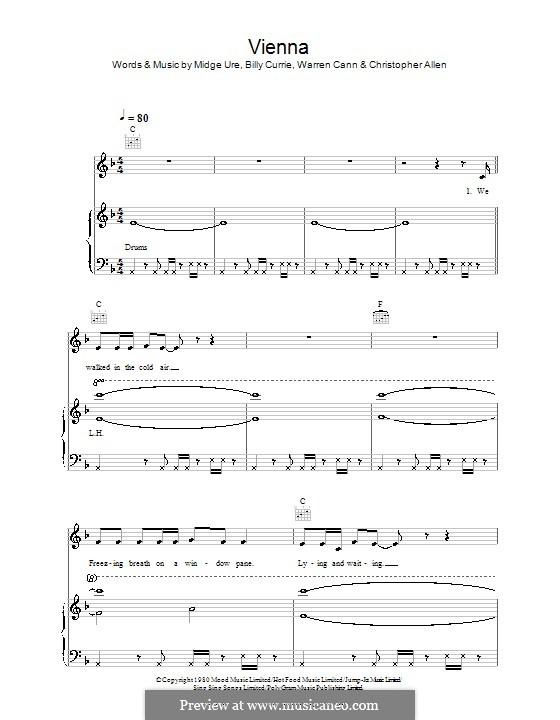 Vienna (Ultravox): Для голоса и фортепиано (или гитары) by Billy Currie, Christopher Allen, Midge Ure, Warren Cann