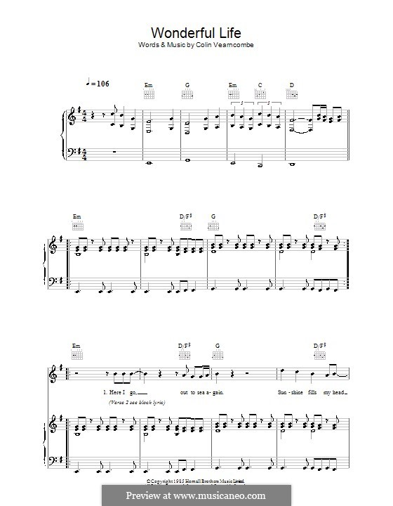 Wonderful Life (Black): Для голоса и фортепиано (или гитары) by Colin Vearncombe