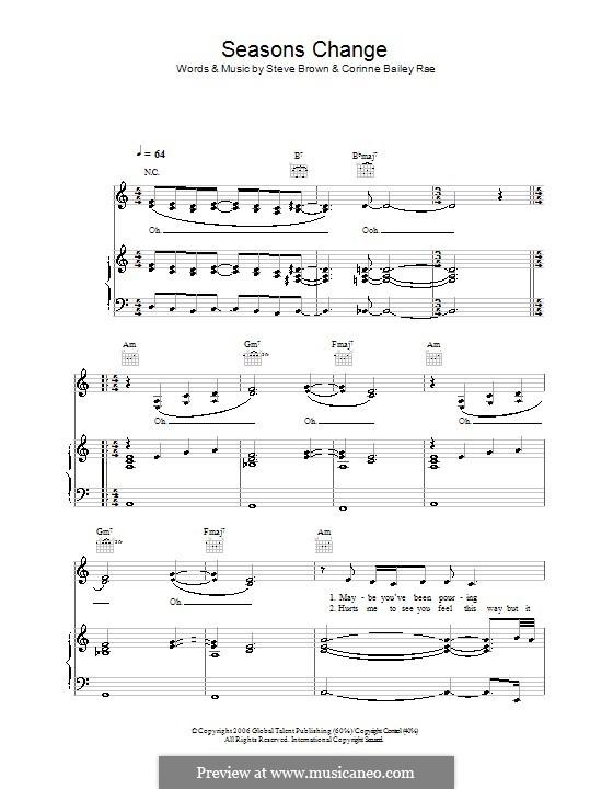 Seasons Change (Corinne Bailey Rae): Для голоса и фортепиано (или гитары) by Steve Brown