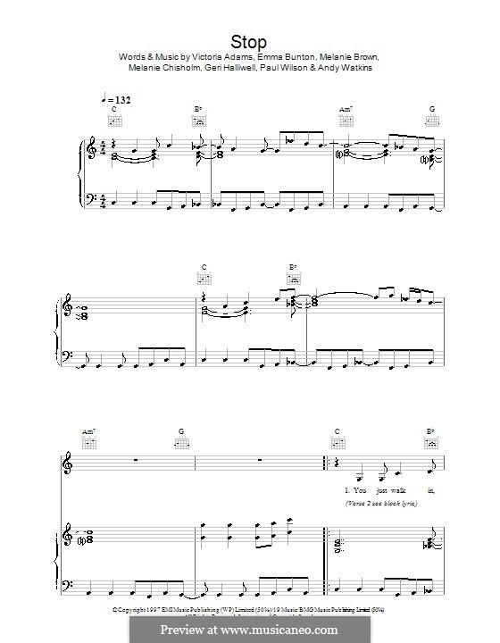 Stop (The Spice Girls): Для голоса и фортепиано (или гитары) by Andy Watkins, Emma Bunton, Geri Halliwell, Melanie Brown, Melanie C, Paul Wilson, Victoria Adams