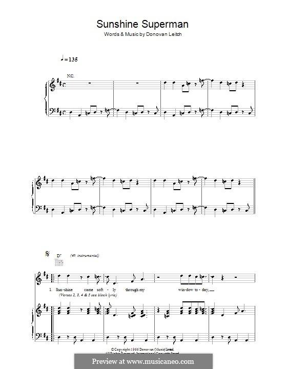 Sunshine Superman: Для голоса и фортепиано (или гитары) by Donovan Leitch