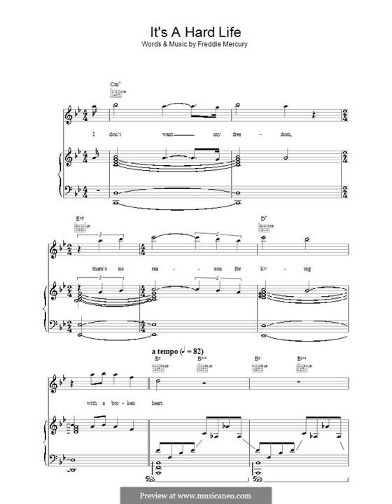 It's a Hard Life (Queen): Для голоса и фортепиано (или гитары) by Freddie Mercury