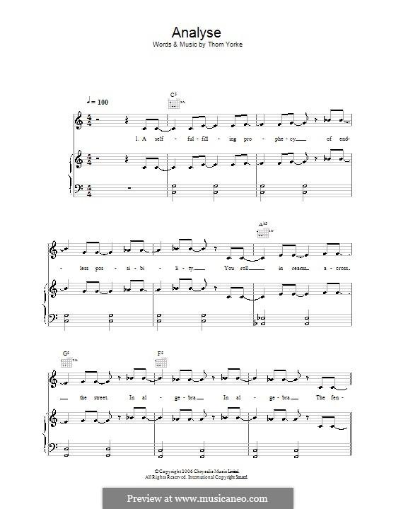 Analyse: Для голоса и фортепиано (или гитары) by Thomas Yorke
