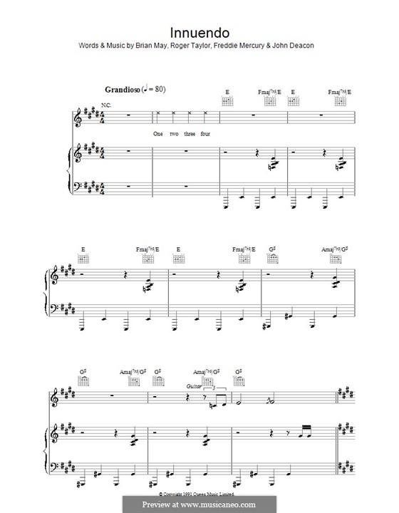 Innuendo (Queen): Для голоса и фортепиано (или гитары) by Brian May, Freddie Mercury, John Deacon, Roger Taylor