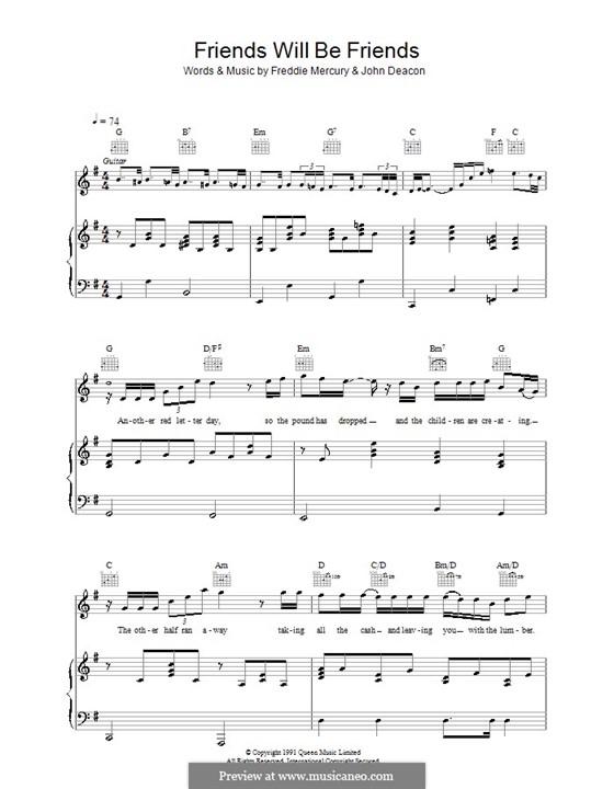 Friends Will Be Friends (Queen): Для голоса и фортепиано (или гитары) by Freddie Mercury, John Deacon