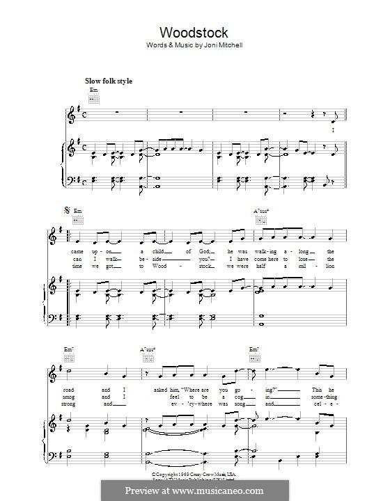 Woodstock (Eva Cassidy): Для голоса и фортепиано (или гитары) by Joni Mitchell