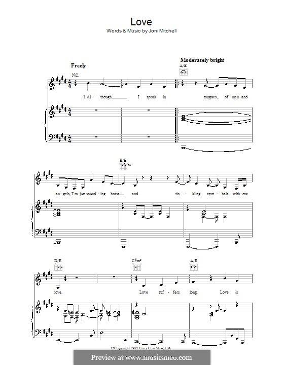 Love: Для голоса и фортепиано (или гитары) by Joni Mitchell