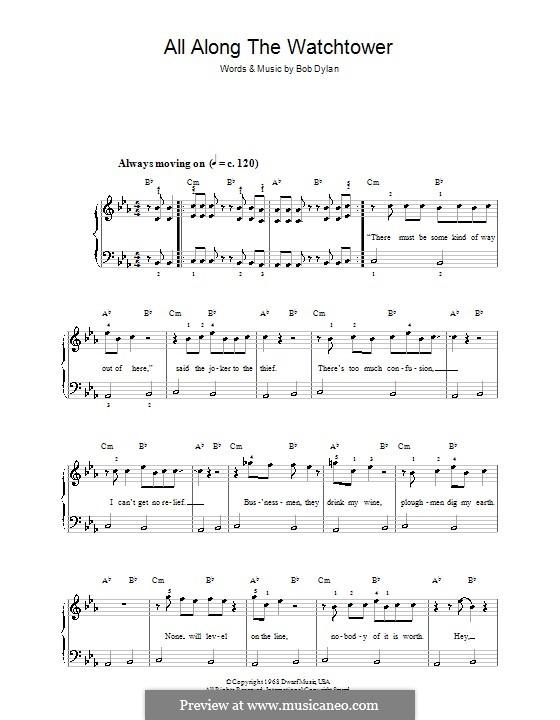 All Along the Watchtower: Для фортепиано (легкий уровень) by Bob Dylan