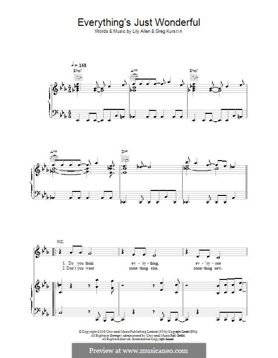Everything's Just Wonderful: Фортепиано, голос и гитара (Lily Allen) by Greg Kurstin