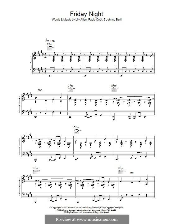 Friday Night (Lily Allen): Для голоса и фортепиано (или гитары) by Johnny Bull, Pablo Cook
