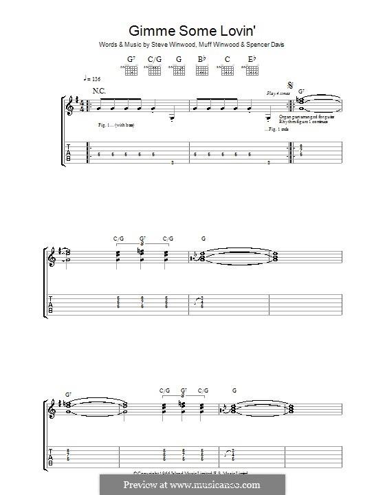 Gimme Some Lovin' (The Spencer Davis Group): Гитарная табулатура by Muff Winwood, Spencer Davis, Steve Winwood