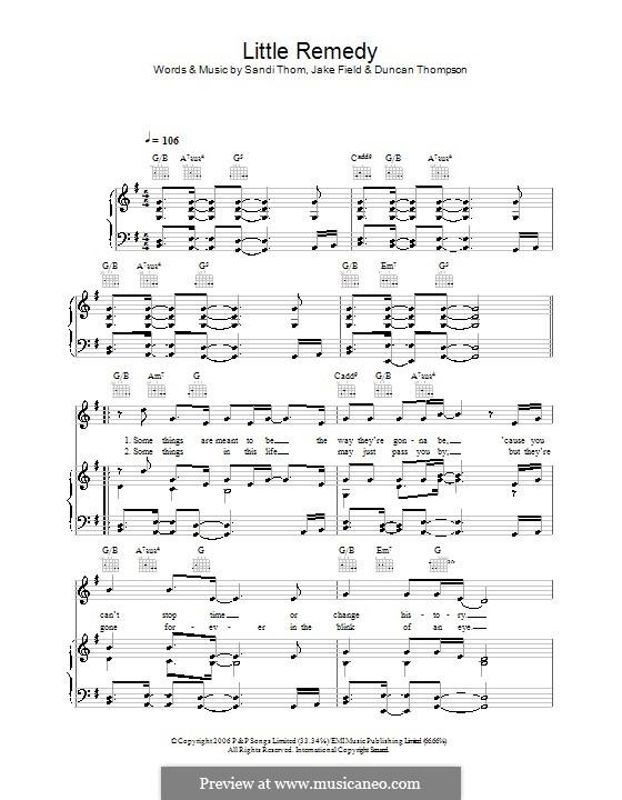 Little Remedy (Sandi Thom): Для голоса и фортепиано (или гитары) by Duncan Thompson, Jake Field