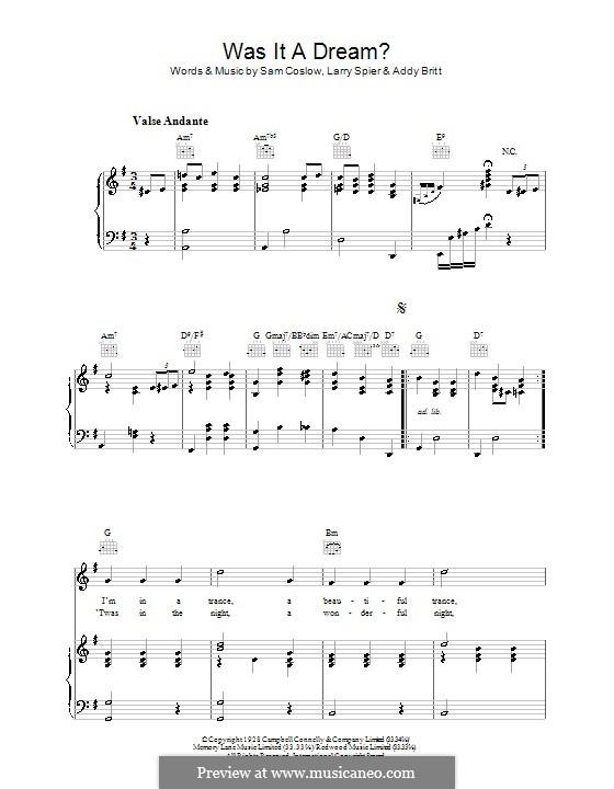 Was It a Dream: Для голоса и фортепиано (или гитары) by Sam Coslow