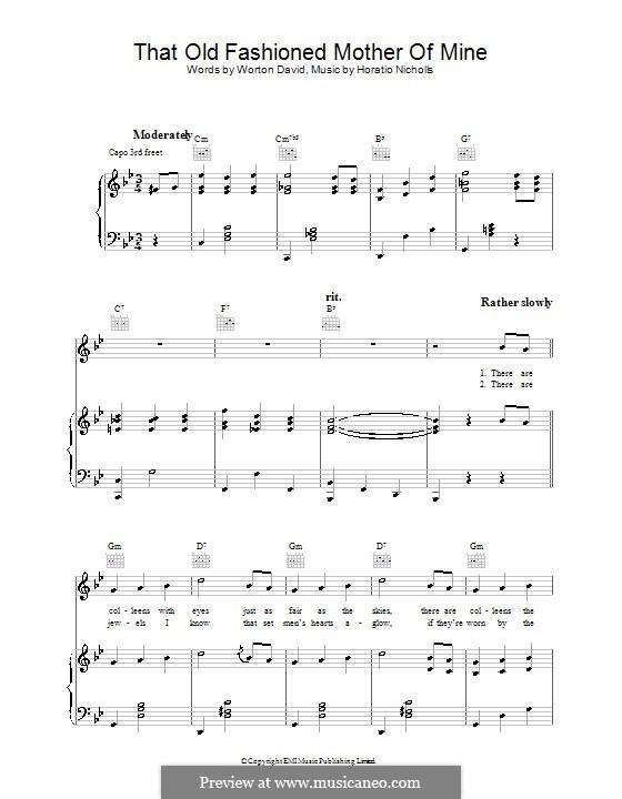 That Old Fashioned Mother of Mine: Для голоса и фортепиано (или гитары) by Worton David
