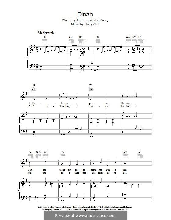 Dinah (Bing Crosby): Для голоса и фортепиано (или гитары) by Harry Akst