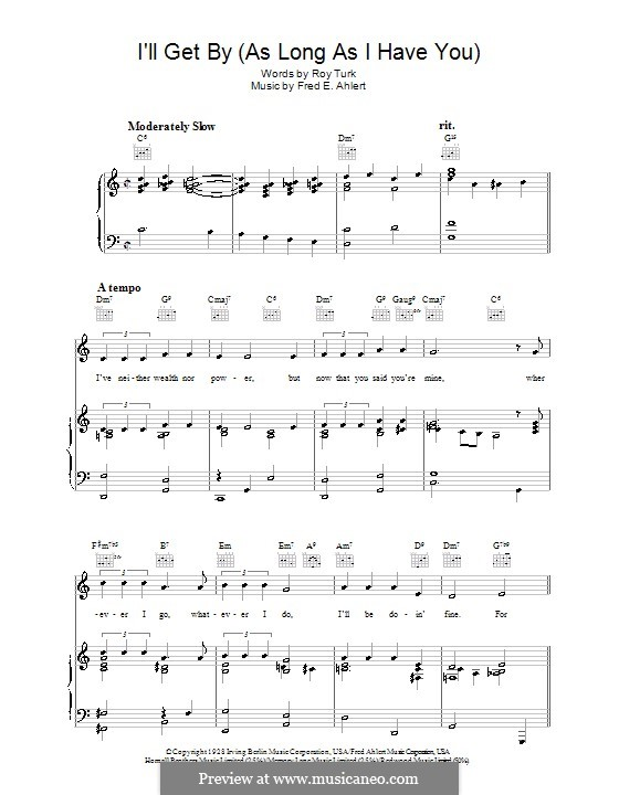 I'll Get By: For voice and piano or guitar (Roy Turk) by Fred E. Ahlert