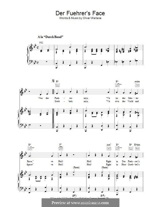 Der Fuehrer's Face: Для голоса и фортепиано (или гитары) by Oliver Wallace