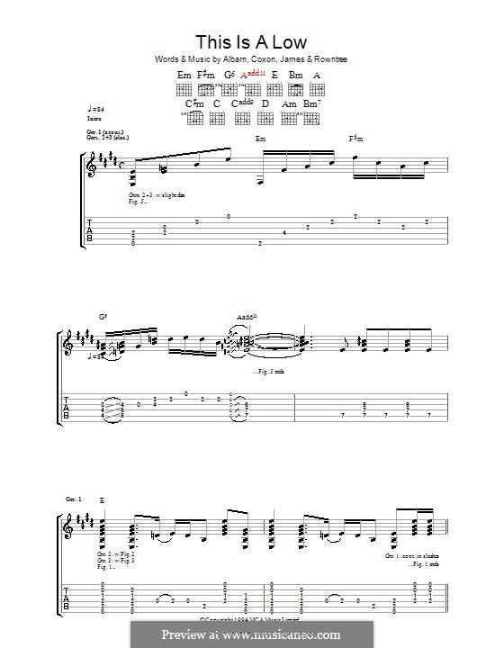 This Is a Low (Blur): Для гитары с табулатурой by Alex James, Damon Albarn, David Rowntree, Graham Coxon