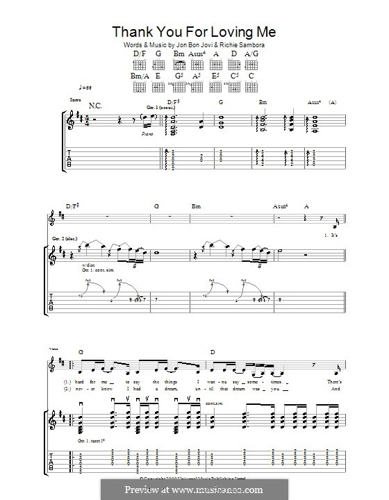 Thank You for Loving Me (Bon Jovi): Гитарная табулатура by Jon Bon Jovi, Richie Sambora