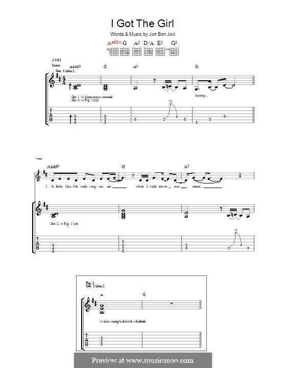 I Got the Girl (Bon Jovi): Гитарная табулатура by Jon Bon Jovi