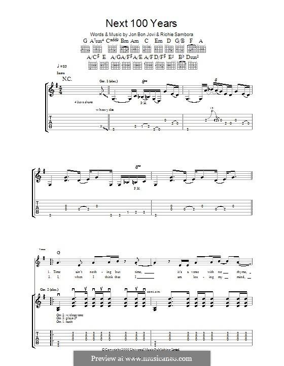 Next 100 Years (Bon Jovi): Гитарная табулатура by Jon Bon Jovi, Richie Sambora