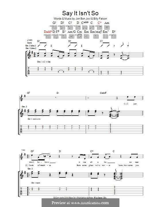 Say It Isn't So (Bon Jovi): Гитарная табулатура by Billy Falcon, Jon Bon Jovi