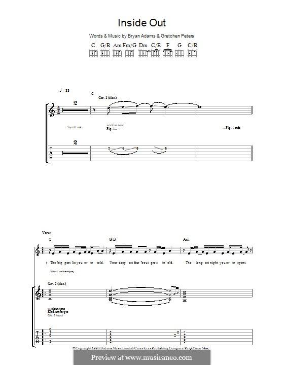 Inside Out: Гитарная табулатура by Bryan Adams, Gretchen Peters