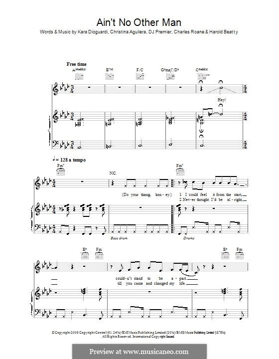 Ain't No Other Man: Для голоса и фортепиано (или гитары) by Charles Roane, Christina Aguilera, DJ Premier, Harold Beatty, Kara DioGuardi