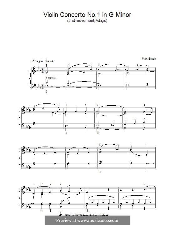 Концерт для скрипки с оркестром No.1 соль минор, Op.26: Movement II. Version for easy piano by Макс Брух
