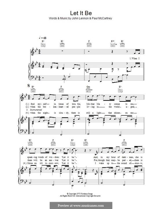 Let it Be (The Beatles): Для голоса и фортепиано или гитары (си бемоль мажор) by John Lennon, Paul McCartney