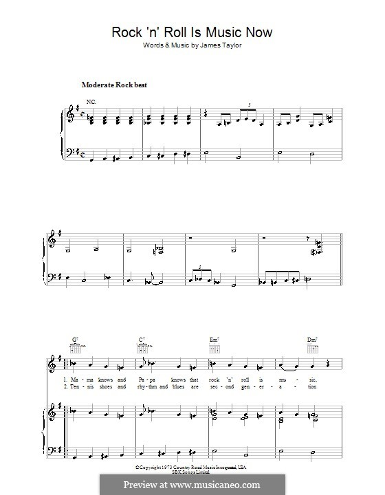 Rock 'n' Roll Is Music Now: Для голоса и фортепиано (или гитары) by James Taylor