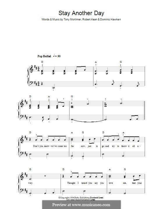 Stay Another Day (East 17): Для фортепиано (легкий уровень) by Dominic Hawken, Robert Kean, Tony Mortimer