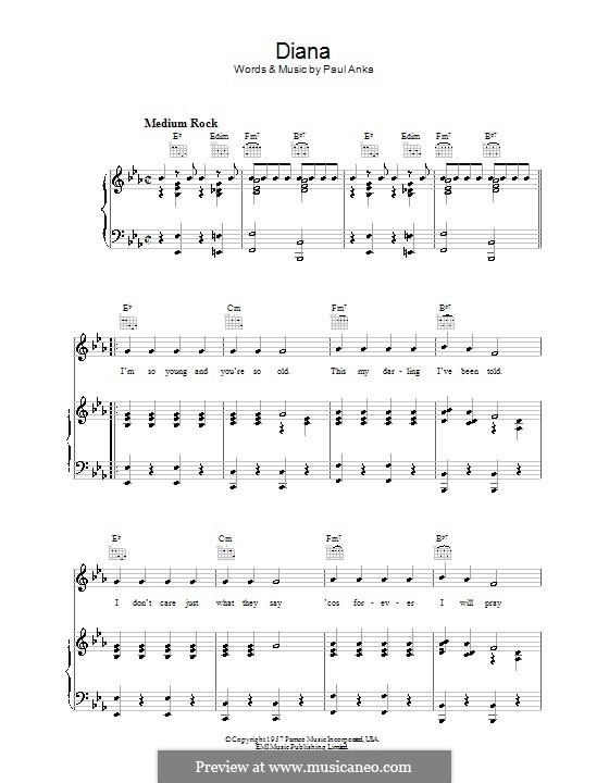 Diana: Для голоса и фортепиано (или гитары) by Paul Anka