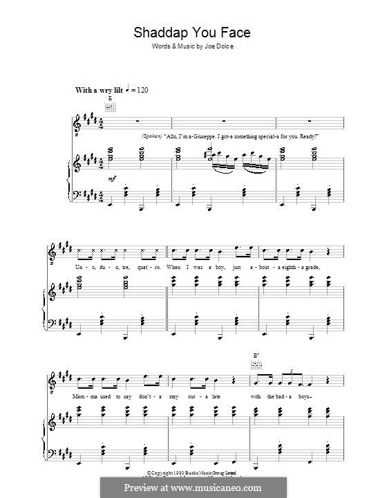 Shaddap You Face: Для голоса и фортепиано (или гитары) by Joe Dolce