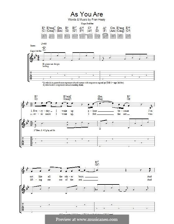 As You Are (Travis): Гитарная табулатура by Fran Healy