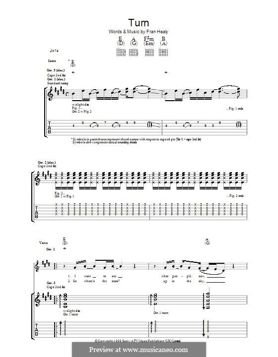 Turn (Travis): Гитарная табулатура by Fran Healy