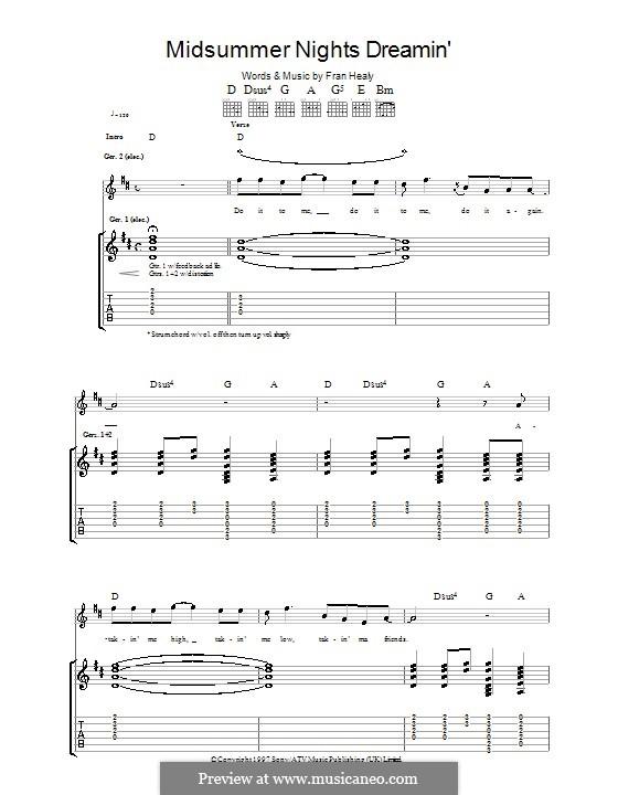 Midsummer Nights Dreamin' (Travis): Гитарная табулатура by Fran Healy