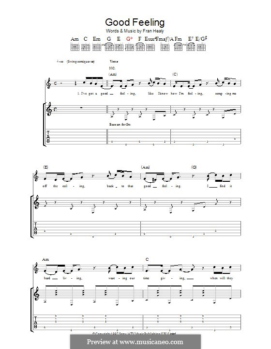 Good Feeling (Travis): Гитарная табулатура by Fran Healy
