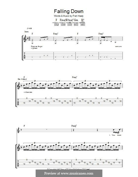 Falling Down (Travis): Гитарная табулатура by Fran Healy
