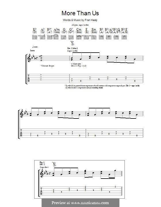 More Than Us (Travis): Гитарная табулатура by Fran Healy