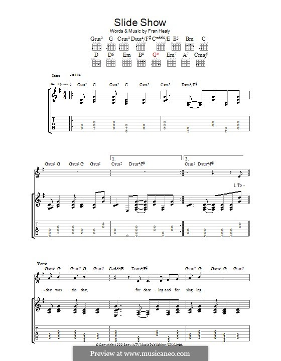 Slide Show (Travis): Гитарная табулатура by Fran Healy